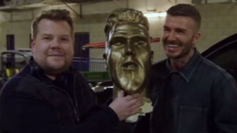 Beckham saw the funny side after Corden revealed the prank