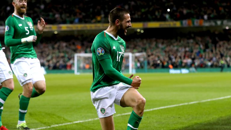 Conor Hourihane celebrates after scoring against Georgia