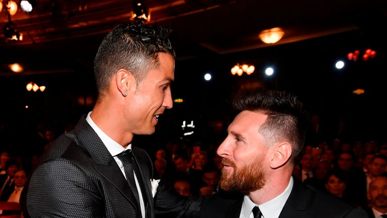 Cristiano Ronaldo and Lionel Messi sat next to each other at the ceremony