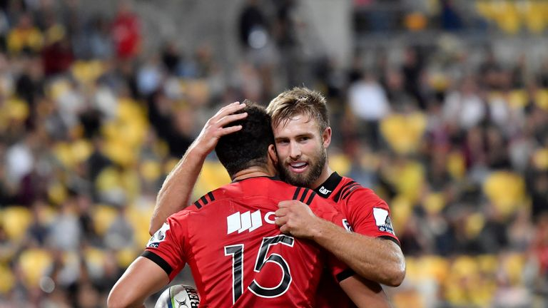 David Havili (No 15) scored twice as the Crusaders hammered the Hurricanes