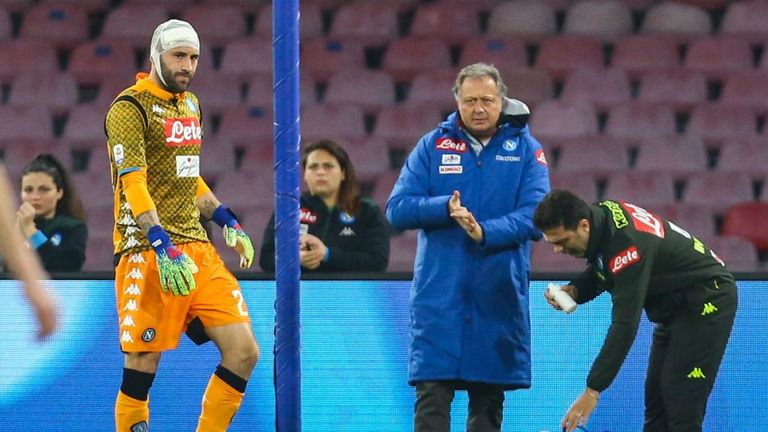 Napoli keeper Ospina kept in hospital after head injury against Udinese