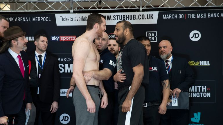 The heavyweights became embroiled in a heated exchange before the fight