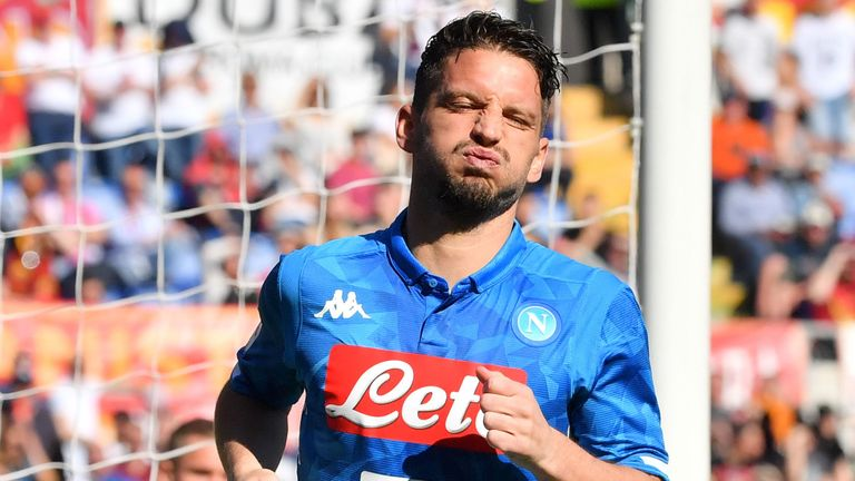 Dries Mertens celebrates after scoring for Napoli
