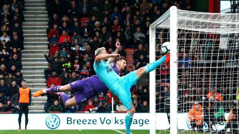 Paul Dummett's made an acrobatic goal-line clearance