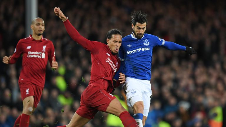 Van Dijk battles with Andre Gomes in the Merseyside derby