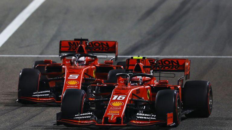 Charles Leclerc overtakes Ferrari team-mate Sebastian Vettel to reclaim the lead in Bahrain