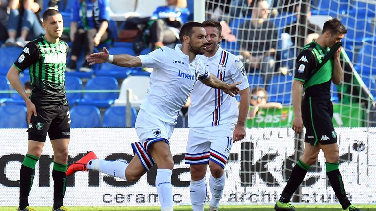 Fabio Quagliarella celebrates scoring Sampdoria's second goal against Sassuolo