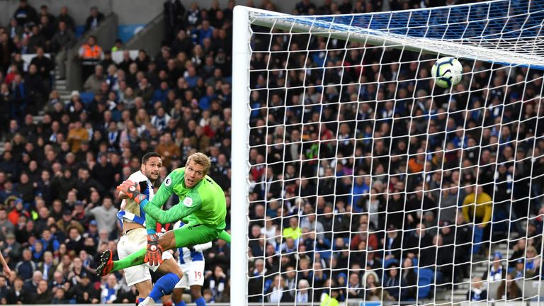 Brighton's Florin Andone opens the scoring at the Amex Stadium against Huddersfield