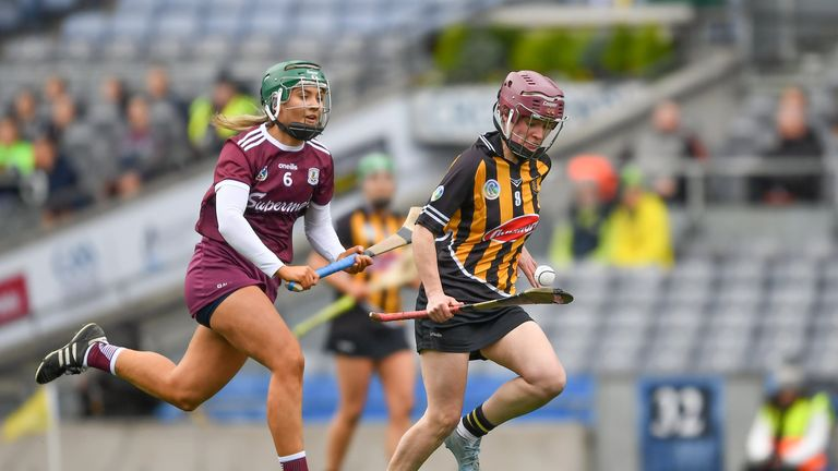 Anne Dalton of Kilkenny in action against Emma Helebert of Galway