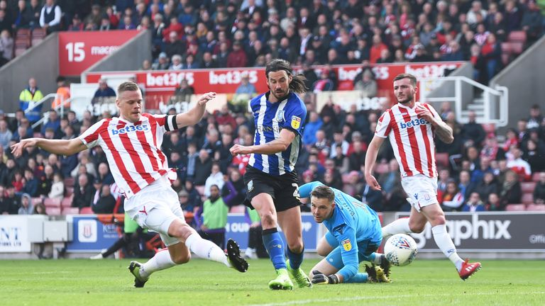 George Boyd of Sheffield Wednesday scores, but his goal is later disallowed