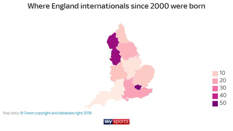 Where England internationals since 2000 were born