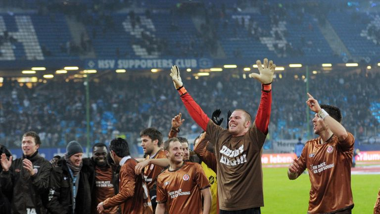 St Pauli celebrate victory over Hamburg in 2011