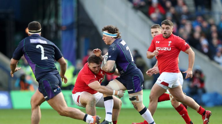 Hamish Watson on the charge for Scotland