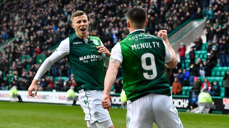 Hibernian's Marc McNulty celebrates with Florian Kamberi (L) after scoring against Motherwell