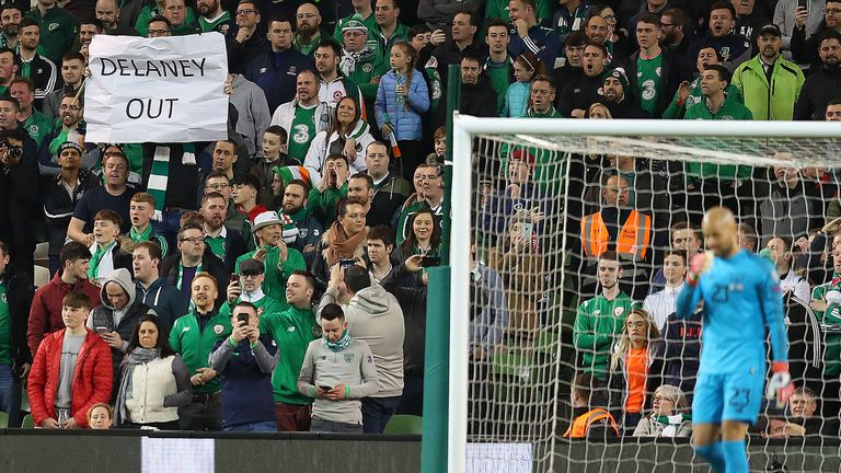Ireland fans threw tennis balls on the pitch in protest at John Delaney's continuing role at the FAI
