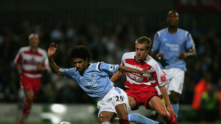 Coppinger in action against Manchester City in the League Cup in 2005