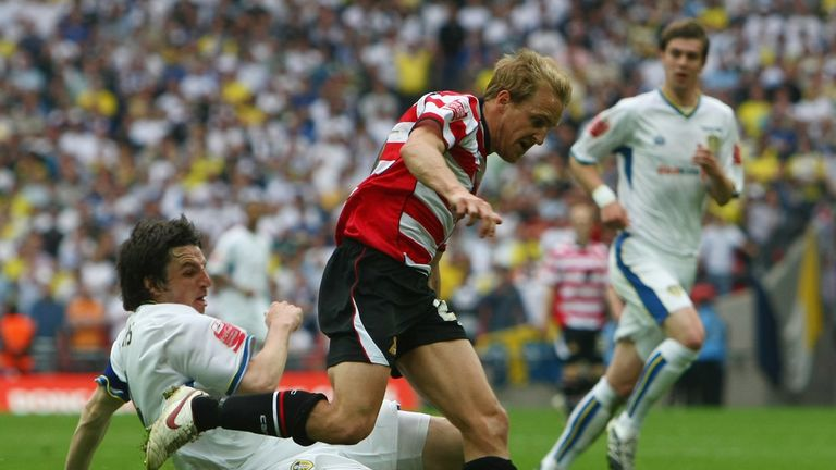 Coppinger in action against Leeds during the League One play-off final in 2008