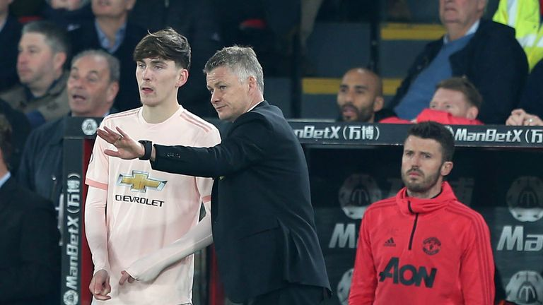 Highly-rated midfielder James Garner was handed a debut by Ole Gunnar Solskjaer
