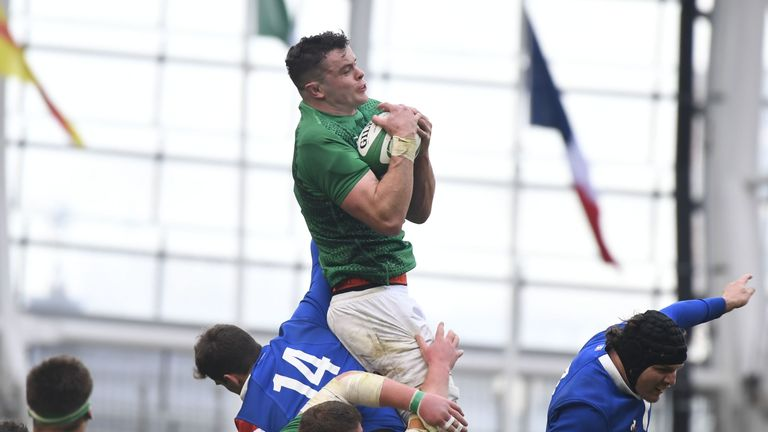 James Ryan wins a ball at the lineout - a strength of this Ireland side