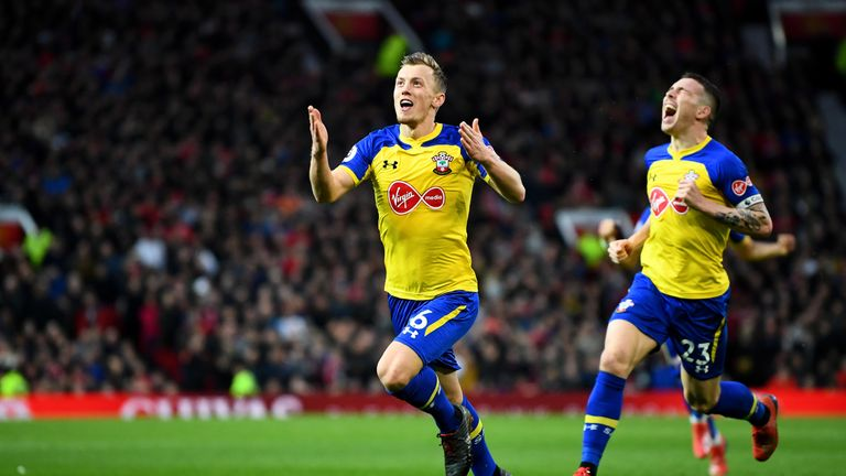 James Ward-Prowse celebrates his 75th-minute equaliser