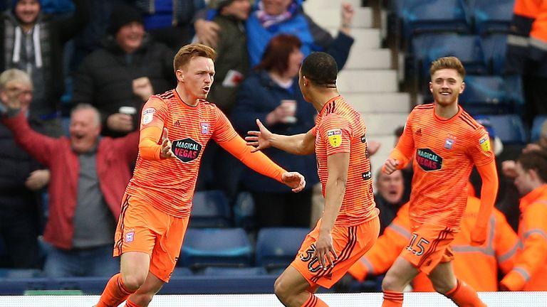 Ipswich Town's Jon Nolan (left) celebrates scoring his side's equaliser