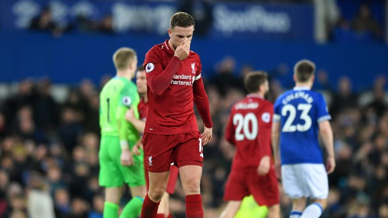 Jordan Henderson shows his disappointment