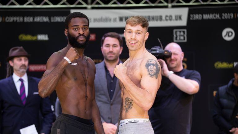 Joshua Buatsi and Liam Conroy contest the  Lonsdale belt
