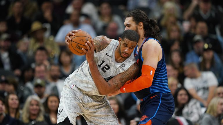 LaMarcus Aldridge #12 of the San Antonio Spurs posts up during the game against Steven Adams #12 of the Oklahoma City Thunder on March 2, 2019 at the AT&T Center in San Antonio, Texas