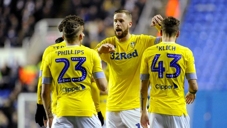 Leeds United celebrate a goal against Reading