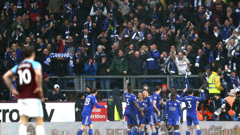 Leicester celebrated their winning goal with their travelling support