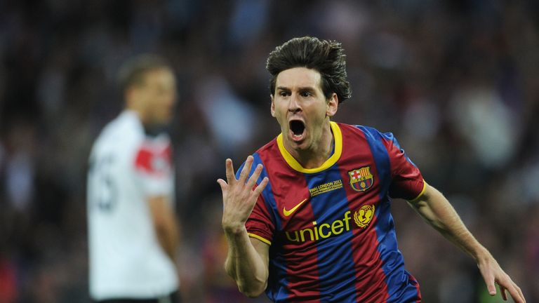 Lionel Messi celebrates scoring against Manchester United in the 2011 Champions League final at Wembley Stadium