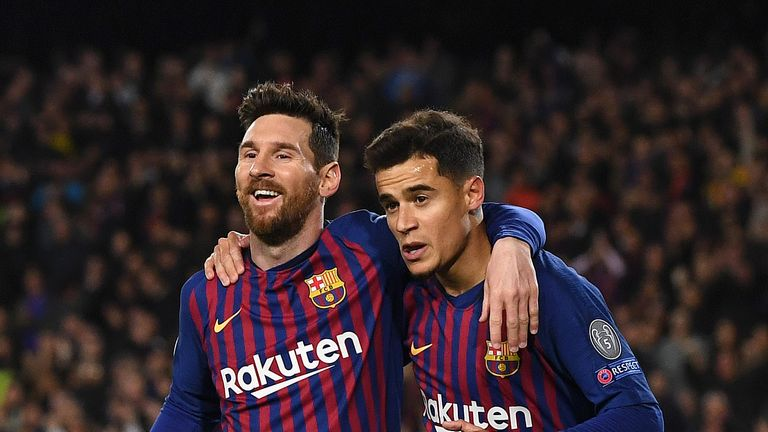 Philippe Coutinho and Lionel Messi scored in the win against Lyon
