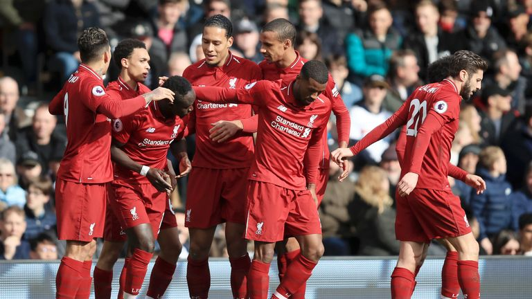 The Reds lead Manchester City by two points at the top of the Premier League, having played a game more