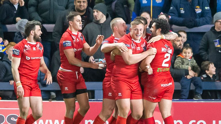 London celebrate Jay PItts's try against Leeds