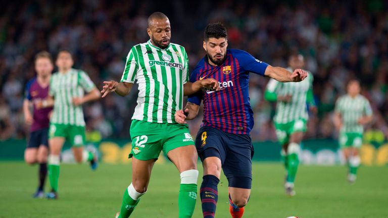 Luis Suarez also scored against Real Betis on Sunday