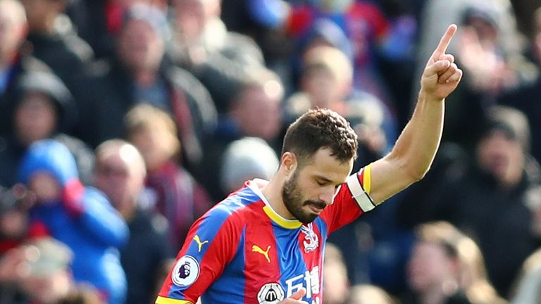 Luka Milivojevic celebrates after bringing Crystal Palace level