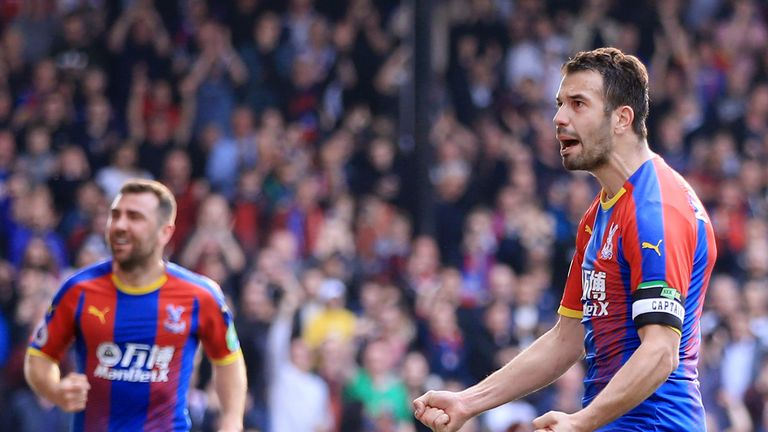Luka Milivojevic celebrates after giving Crystal Palace the lead from the spot