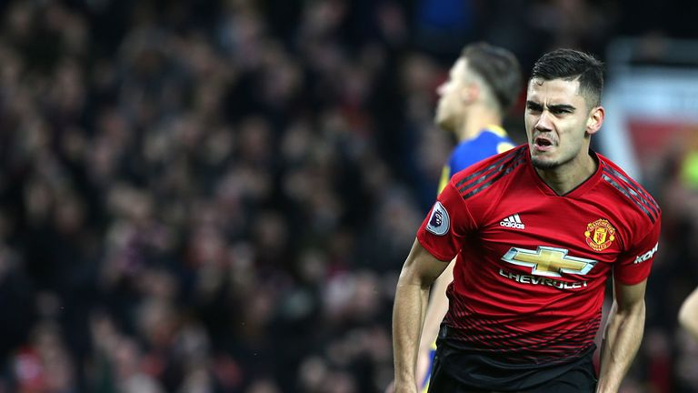 Andreas Pereira celebrates his goal for Manchester United against Southampton