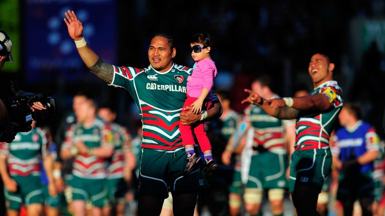 Manu Tuilagi (r) and Alesana Tuilagi celebrate after the Aviva Premiership semi-final between Leicester Tigers and Saracens at Welford Road on May 12, 2012
