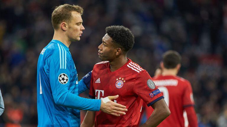 Bayern Munich's Manuel Neuer and David Alaba react to their European exit