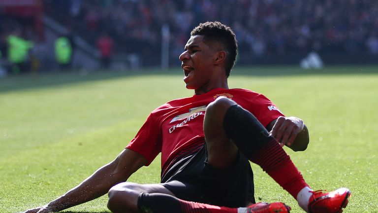 Marcus Rashford celebrates after scoring Manchester United's opening goal