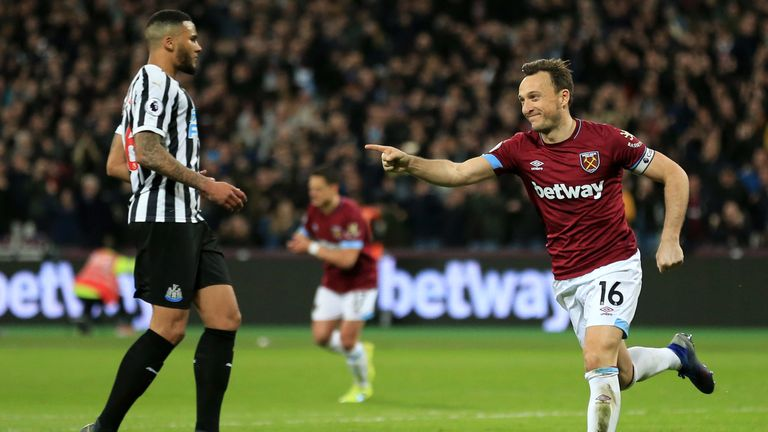 West Ham's Mark Noble celebrates his penalty against Newcastle