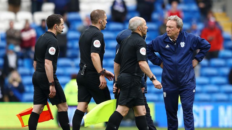 Warnock has had a few run-ins with match officials this season