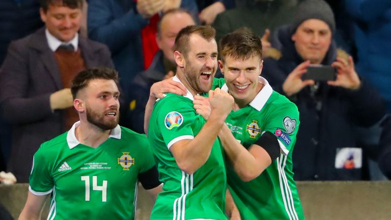 Niall McGinn celebrates opening the scoring for Northern Ireland against Estonia in the European Qualifier