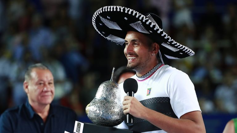 Nick Kyrgios is back in the winner's circle after beating Alexander Zverev to claim the Mexico Open and a first title since Brisbane last year
