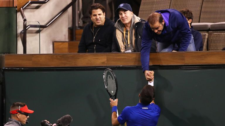 Djokovic shakes hands with his idol Pete Sampras