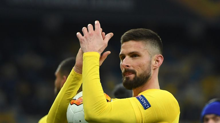 Giroud scored a hat-trick against Dynamo Kiev in the Europa League