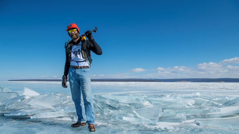 A British man trekked 100 miles across a frozen Mongolian lake in jeans and brogues