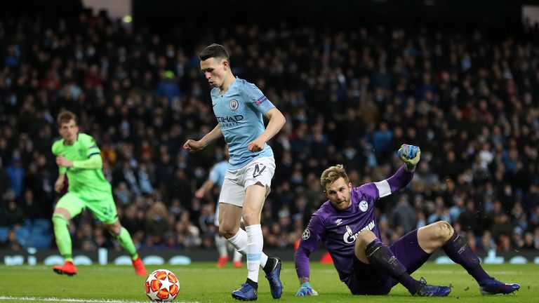 Foden skipped around Fahrmann before adding City's sixth to become City's youngest scorer in the Champions League