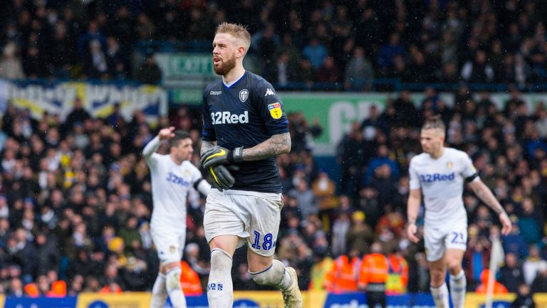 Leeds defender Pontus Jansson is forced to keep goal for the final few minutes
